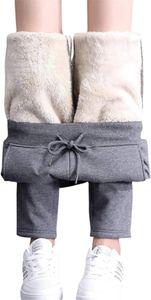 ASKSA Hose Damen Thermo Wanderhose Gefütterte Sweathosen Winter Warm Sportliche Jogginghosen mit Innenfleece Outdoor Sweathose Dunkelgrau -L-