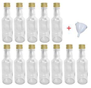 Glasflaschen 200 ml mit Schraubverschluss zum selbst Befüllen für Öl Likör Schnaps Bier Wasser Flasche leere Flaschen inkl. Trichter, Stückzahl:12x