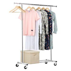 Yaheetech Kleiderständer Garderobenständer Wäscheständer auf 4 Rollen ausziehbare Stange