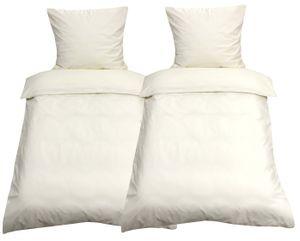 4tlg Bettwäsche 135x200 Beige Uni Decke Kissen Bezug Set mit Reißverschluss