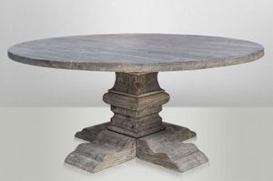 Casa Padrino Landhaus Esstisch Rund Eiche Rustic Grey - Barock Stil Tisch Eiche Massiv, Tisch Abmessungen:Durchmesser 150 cm