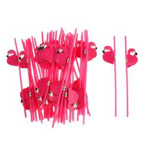 Flamingo Plastikstrohhalme Dekoration, 25 PCS Wegwerfcocktail Trinkhalme mit