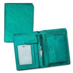DrachenLeder Damen Portemonnaie,Geldbörse,Brieftasche türkis EchtLeder OPR106T