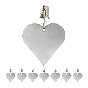 relaxdays 8 x Tischdeckenbeschwerer Tischtuchgewichte Tischtuchbommel Tischbeschwerer Herz