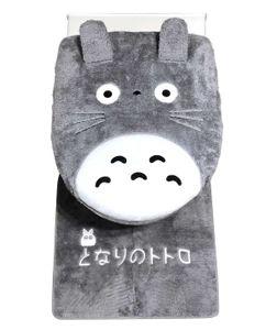 Badausstattung Set für Totoro Fans mit flauschigem Badvorleger und WC Sitzbezug