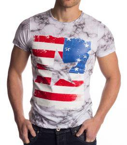 Herren T-Shirt Kurzarm Hemd Amerika USA Stern Flagge Jersey, Farben:Weiß, Größe T-Shirt:S