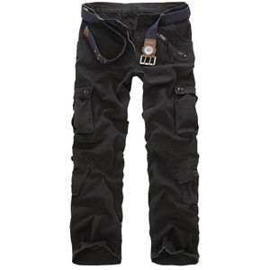 Herrenmode Casual Baumwolle Multi-Pocket Outdoors Arbeitshose Cargo Long Pants Größe:32,Farbe:Schwarz