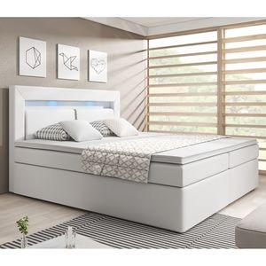 Juskys Boxspringbett New Jersey 180 x 200 cm mit Bettkästen, LED Beleuchtung, Bonell-Matratzen, Topper & Kunstleder - weiß – Bett Doppelbett