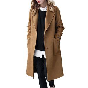 Damenjacken, lässige lange Wollmäntel für Damen,Farbe: Kamel,Größe:L
