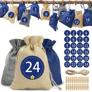 Adventskalender zum Befüllen - Stoffbeutel, Weihnachten Geschenksäckchen, Adventskalender Selber Basteln 2020, Weihnachtskalender Bastelset, Basteln Füllung (Blau)