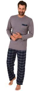 Herren Flanell Schlafanzug langarm - Hose Flanell, Oberteil Jersey - 291 101 10 536, Farbe:grau, Größe:54