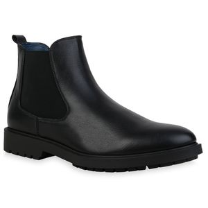 Giralin Herren Stiefel Chelsea Boots Blockabsatz Klassisch 836477, Farbe: Schwarz, Größe: 42