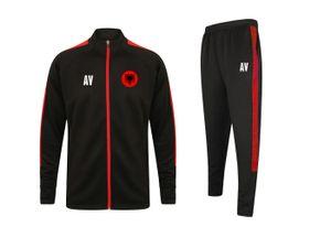 Trainingsanzug ALBANIEN Schwarz/Rot Gr. L Sportanzug Jogginganzug mit Druck (Name, Nummer oder Initialen)