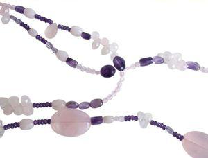 Gemshine - Damen - Halskette - Lariat - Rosenquarz - Amethyst - Perlen - Rosa - Lila - Violett - Weiß - 130 cm