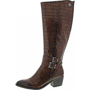 Marco Tozzi Damen Langschaft Stiefel by Guido Maria Kretschmer, Größe:EUR 38, Farbe:Braun (Cognac Croco)