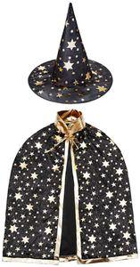 Kinder Halloween Kostüm, Hexe Zauberer Umhang mit Hut für Kinder (Magie schwarz)