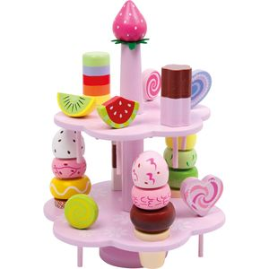 Small Foot 3312 Etagere Süßigkeiten aus Holz, mit viel Zubehör, mehrfarbig, 22-teilig (1 Set)