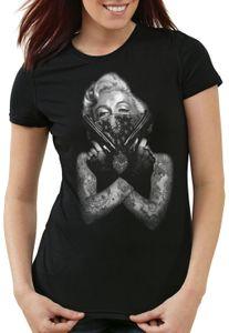 style3 Gangster Marilyn Damen T-Shirt rock monroe tätowiert biker usa, Größe:M