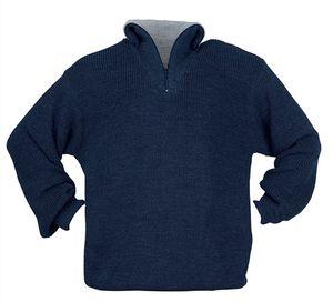 Pullover Gr.XL blau Troyer m.Reißverschlusskragen Perlfangstrick