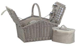 Picknickkorb weide waschgrau 4 Personen Kühltasche Besteck