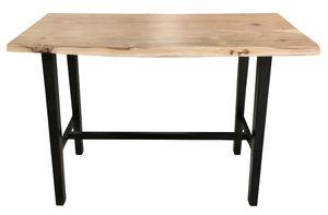 SIT Möbel Stehtisch aus Akazie mit echter Baumkante, antikschwarzes Gestellt|B124,5 x T51 x H112cm|07107-68|Serie TISCHE & BÄNKE