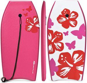GOPLUS Bodyboard mit Fuß - Zugseil, Schwimmbrett Erfüllt mit EPS Schaumstoff, Surfboard bis zu 60-95 kg Belastbar, Auch als Schwimmhilfe mit einer Größe von 105 x 51 cm, Verschleißfest, für Kinder & Erwachse