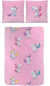 Einhorn Bettwäsche 135x200 cm Unicorn rosa Fein Biber Baumwolle