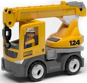 Multigo Kranwagen Mobilkran LKW Lastwagen mit Spielfigur Baustellen Fahrzeug +3J