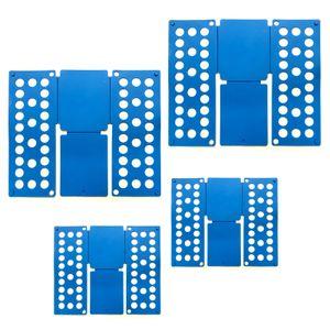 4er Set Faltbrett Blau | Wäschefalter Falthilfe Kunststoff | Wäschefaltbrett Hemdenfalter | Wäsche Faltsystem Kleiderfalter