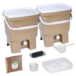 Skaza Bokashi Organko Set mit 2 Küchenkompostbehältern aus recyceltem Kunststoff| | 2 x 16 l | Anfänger-Set für Küchenabfälle und Kompostierung | mit ME Bestreuung 1 kg l Braun-Beige