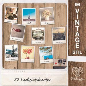 WeddingTree 52 Postkarten Hochzeit Vintage - Postkarten Set 9x11 cm - für 52 Wochen