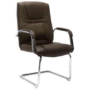 Freischwinger Bürostuhl Braun Kunstleder - Schreibtischstuhl Drehstuhl Computer Stuhl Ergonomischer Design Chefsessel