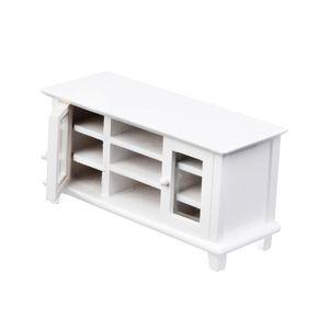 1:12 Miniatur weiß TV-Schrank Aus Holz Für Puppenhaus