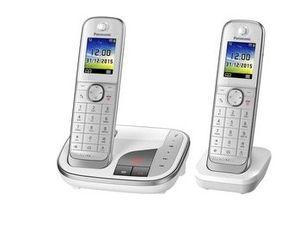 Panasonic KX-TGJ322GW Strahlungsarmes Schnurlostelefon mit Anrufbeantworter, Farbdisplay, Rufnummernanzeige, 18h Sprechzeit, 12 Tage Standby, Freisprechfunktion, Babyfon-Funktion, DECT