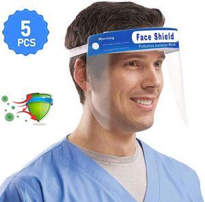 5 Stück Visier Gesichtsschutz Gesichtsschutzschirm, Sicherheits Gesichtsschutz doppelseitige Anti-Beschlag Anti-Splash klar Vollgesichtsschutz Visier mit Gummiband & Komfortschwamm, Wiederverwendbar