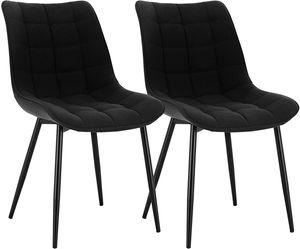 WOLTU Esszimmerstühle BH206sz-2 2er-Set Küchenstuhl Polsterstuhl Wohnzimmerstuhl Sessel mit Rückenlehne, Sitzfläche aus Leinen, Metallbeine, Schwarz