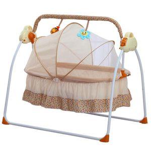 Automatik Babyschaukel, Elektrische Babywiege, Säugling Bequemer Shaker, Sicher Elektrisch Baby-Wiege Wippe mit Matte, Babybett-Wiege mit Moskitonetz (Khaki)