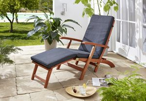 Grasekamp Auflage Anthrazit zu Deckchair Santos  174x51x6cm Gartenliege Liegestuhl  Sonnenliege Relaxliege