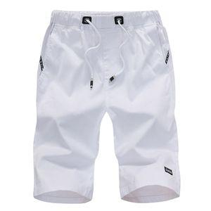 Herren Sommer Freizeit Sport Fünf-Cent-Hosen Baumwolle Gürtel Strand kurze Hosen Größe:XL,Farbe:Weiß