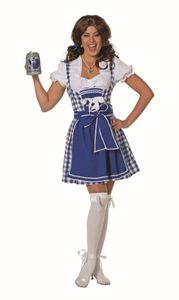 Wilbers & Wilbers Dirndl Tracht Trachtenkleid Trachten Dirndlkleid Oktoberfest Wiesn Wasen Set Blau/Weiß Blau/Weiß