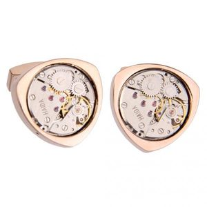1 Paar Vintage Steampunk Uhrwerk Dreieckige Manschetten knöpfe Rose Gold