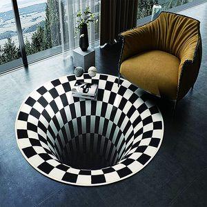 3D Illusion Teppich ;120*120cm -Wohnzimmer Teppich rutschfest rutschfrei flauschig flauschig Teppich Schlafzimmer Esszimmer Teppich Türmatte Küche Bodenmatte