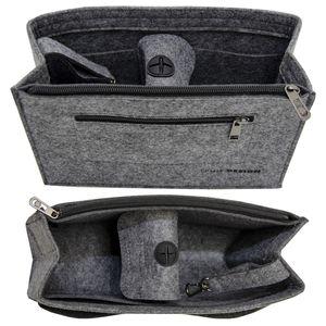 Handtaschen Organizer 27x10x16cm M Filz Tasche Innentasche Taschen Einsatz Grau