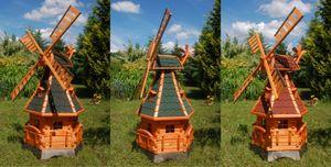 Windmühle mit Gauben und Solar-Beleuchtung – Höhe 1,4 Meter, Farbe:Dunkel