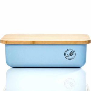 bambuswald© ökologischer Brotkasten mit Brot-Schneidebrett aus 100% Bambus | Brotbox für langanhaltende Frische z.B. Brotlaib Croissaints Bröttchen - Brotdose Brotbehälter Brotaufbewahrungsbehälters - hellblau
