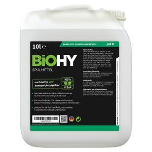 BiOHY Spülmittel (10l Kanister)   Frei von schädlichen Chemikalien & biologisch abbaubar   Glanz- & Fettlöseformel   Für Gastronomie, Industrie und Haushalt geeignet