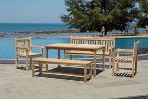 Möbilia Garten Sitzgruppe 5-tlg aus Teak-Holz | 2 Armlehnstühle, 2 Bänke, 1 Tisch | B 0 x T 0 x H 0 cm | natur | 11020020 | Serie GARTEN