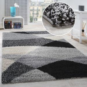Shaggy Teppich Hochflor Langflor Weich Geometrisch Gemustert Grau Schwarz, Grösse:140x200 cm