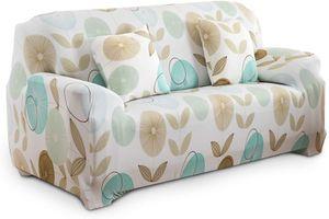 1/2/3/4 Sitzer Sofabezug Sofaüberwurf Stretch weich elastisch farbecht Blumen-Muster Beige 3 Sitzer 195-230cm mit 2 Kissenbezügen 45x45cm