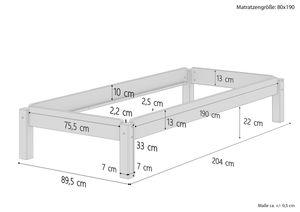 Massivholzbett Stapelbett Kiefer Natur 80x190cm Einzelbett stapelbar Gästebett + Rollrost 60.48-08-190